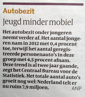Uit de volkskrant van 17-05-2013 (jeugd minder mobiel)
