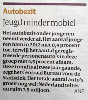 Uit de volkskrant van 17-05-2013 (jeugd minder mobiel)